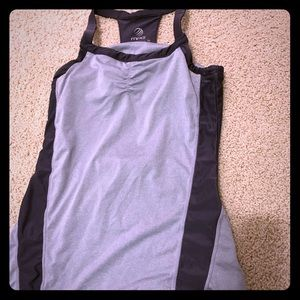 Women's workout tank with built in bra.